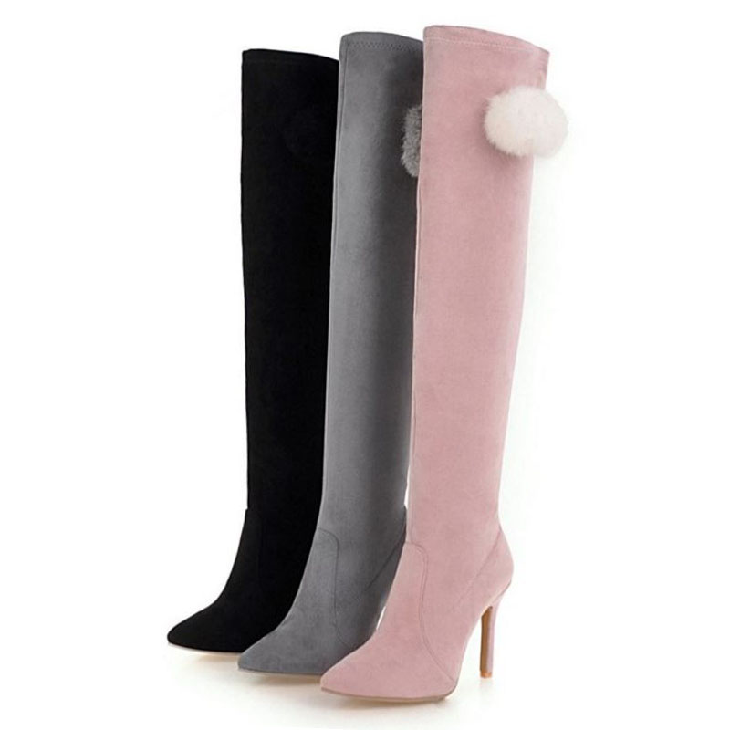 KemeKiss/Большие размеры 34-48, пикантные женские сапоги на высоком каблуке, тонкие сапоги до бедра, женские теплые зимние сапоги выше колена, сапоги на тонком каблуке