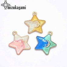 Zinc Alloy Drop Oil Enamel Charms Stars 30pcs/lot For DIY Fashion Earrings Jewelry Making Accessories