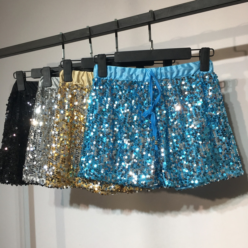 Sequins   Shorts   Women Korean Style Fashion Sequin   Shorts   Summer Loose High-waisted   Short   Trousers Chic Hot Trousers Students