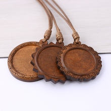 reidgaller 5pcs blank wood pendant base tray 25mm 30mm dia round cabochon settings with le
