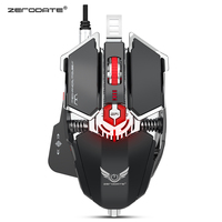 Zerodate LD MS500 Gaming Mouse Professional Mechanical Gaming Mouse Ergonomic Game Mice Adjustable 4000DPI RGB Breathing Light