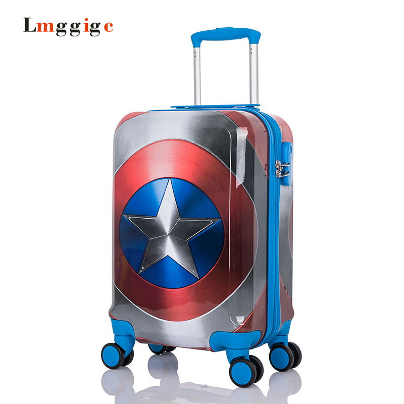 Anime Rolling Luggage Bag,Kids Hello kitty Suitcase, Captain America Travel Carry on,Child Cartoon Universal Wheels Trolley B lovely hello kitty luggage children trolley travel bag 18 inch cartoon kids suitcases hello kitty bag for girls