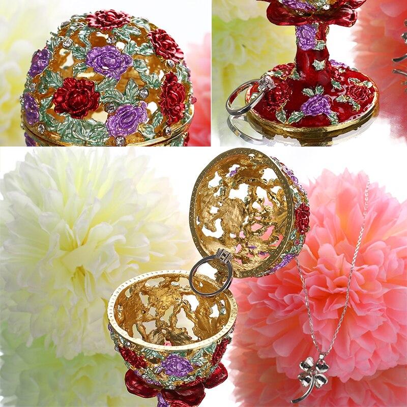 Image 4 - Шкатулка для ювелирных изделий H & D 4,3 дюйма, ручная работа, русская коробка для яиц, откидной держатель для кольца, коллекционные украшения, статуэтка для хранения, подарок на Пасхуbox forbox boxbox for wedding gift -