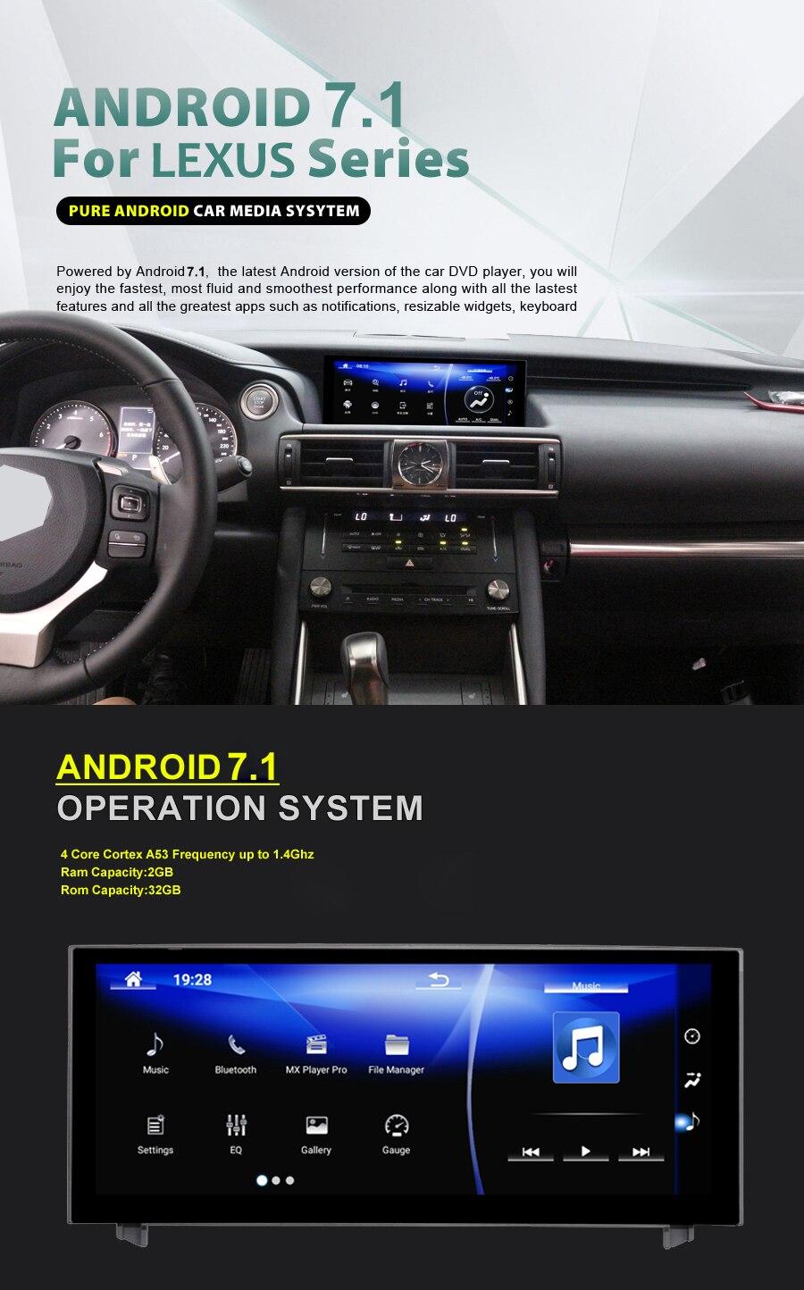 10.25 polegada NAVIRIDER Android 7.1 Rádio Do Carro de Navegação GPS BT Cabeça Tela Da Unidade para Lexus Is 200 250 300 350 200 t 300 h 2013-2017