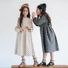 Spring and Autumn Fashion Korean Version Polka Dot Long Sleeves Ruffled A-line Velvet Girls Dress