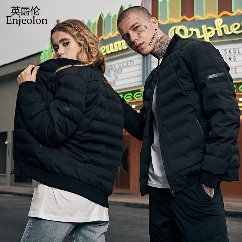 Enjeolon Brand Cotton Padded Jacket Coat Men Black Parka Stand Collar Coat Thick Quilted Fashion Coat Men Plus Size S-3XL MF0275