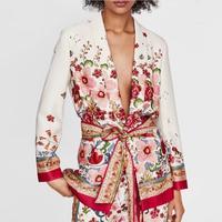2018 autumn women vintage floral print blazer bow tie sashes long sleeve coat women v neck fashion retro small suit