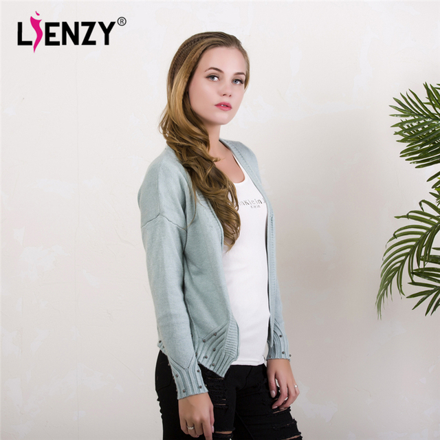 LIENZY Autumn Women Sweater Coat With Pearls Long Sleeve Suede Casual Knitted Cardigan For Autumn