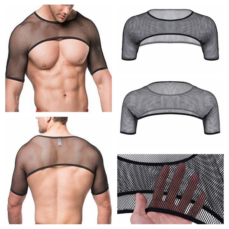MSemis Harness Gay Mens Mesh Fishnet   Top   Men Short Sleeve Shoulder Chest Strap arneses Gay Muscle Clubwear Costume Half   Tank     Top