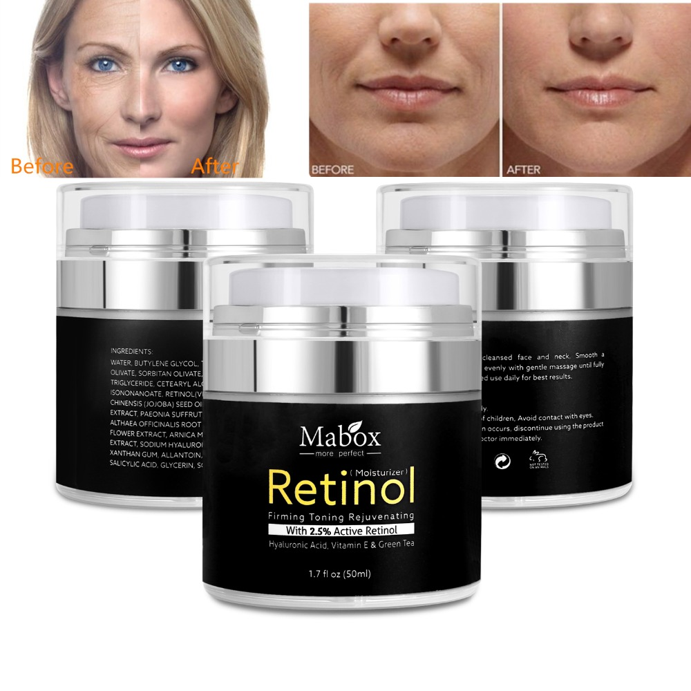 MABOX Retinol 2 5 Moisturizer Face Cream Anti Aging Acne Hyaluronic Acid Vitamin E and Green