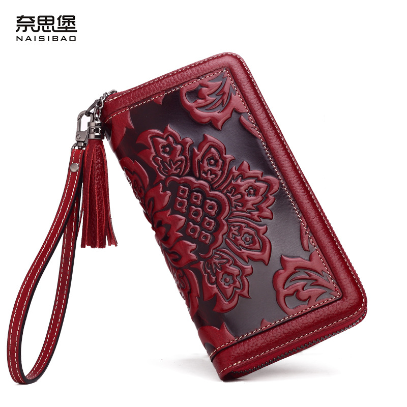 ФОТО NAISIBAO 2017 luxury genuine leather women long wallet brand purse ladies clutch vintage designer printing wallets chinese style
