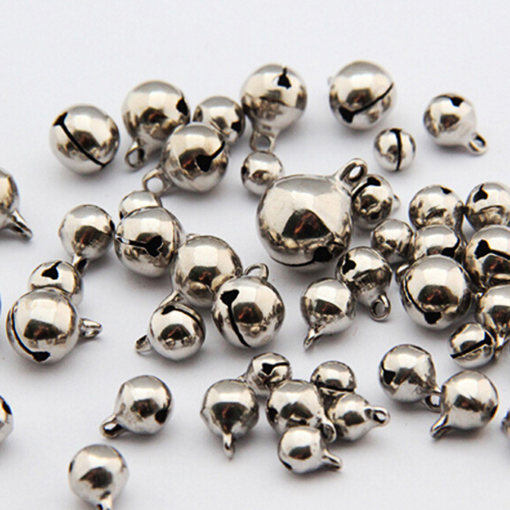 50pcs/lot 6/8/10mm Small Jingle Bells Coppe New Year Festival Jewelry Pendant Metal Fit Christmas Decor 3Sizes