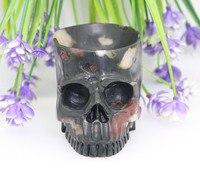 2.99WINE GLASS LOTUS STONE Handmade Carved Crystal Skull Crystal Realistic Crystal Healing Furnishing Articles Figurine TC79