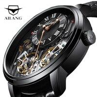 AILANG di Lusso Black Watch Costoso Doppio Tourbillon Svizzera Orologi da Uomo Top Brand di Lusso Automatico Meccanico Della Vigilanza Degli Uomini