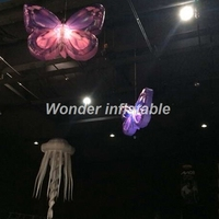 Hot sale 2m led lighting hanging inflatable butterfly wing for wedding party night club concert stage decoration