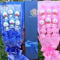 BOLAFYNIA cartoon Doraemon Soap flower toy bouquet for birthday valentine gift toy