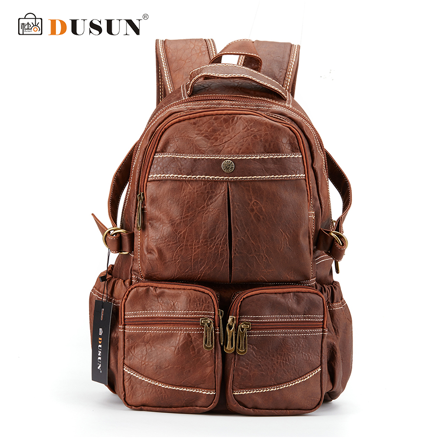 DUSUN 2016 New Leisure Backpack High Quality Leather Travel Bag Vintage Fashion Vintage Backpack Laptop Backpacks School Bags new fashion vintage backpack canvas backpack teens leisure travel school bags laptop computers unisex backpacks men backpack