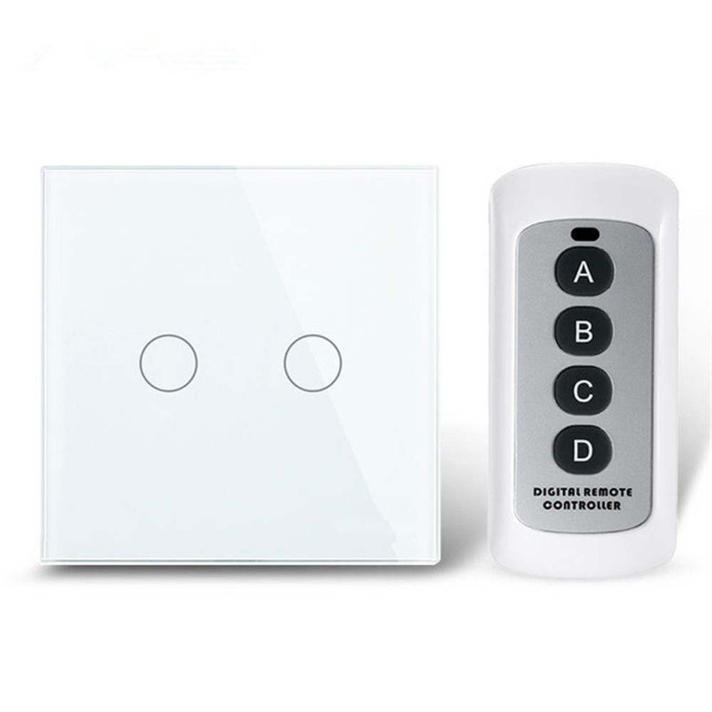 2 Gang 1 way Remote Switch 433, White Crystal Glass Switch Panel, EU Wall Touch Remote Switch Smart Switch 1 way 220V newest 0 02w 1 way 3 gang crystal glass panel smart touch light wall switch remote controller white ac110v 240v black