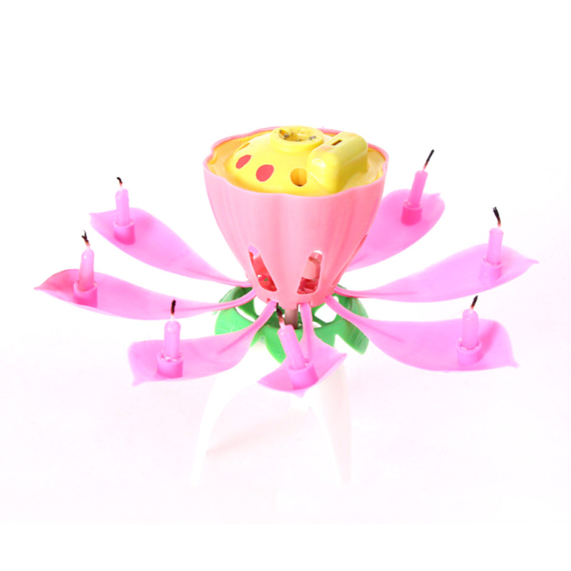 Electric Birthday Candle For Cake Musical Lotus Flower Art Candles Rotating Lights Lamp Happy Party Decoration 20 In Decorating Supplies From
