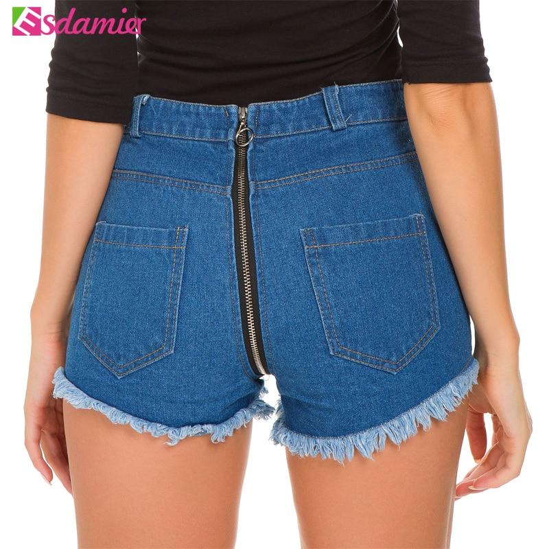 ESDAMIER Summer Sexy Women Shorts Tassel Jeans Back Zipper Blue High Waist Skinny Denim Jeans Shorts For Female 2018 Deep Blue