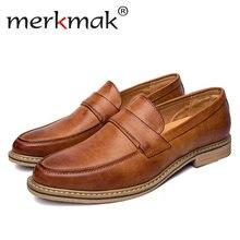 7d6ea1bac Merkmak/модные Туфли-оксфорды Для мужчин британский стиль Повседневное  Лоферы Бизнес Для мужчин обувь на плоской подошве слипоны.