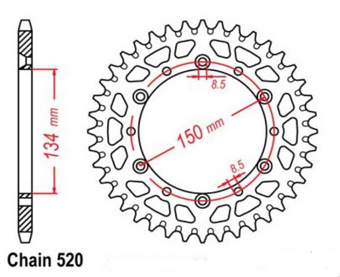 LOPOR 520*48T Motorcycle Rear Sprocket For Kawasaki KX250 F-N1/N2,F-T6F,F-T7F/T8F/W9F/XAFB,B1,D2,F N1,N2,H1-H2,K5,L1-L3