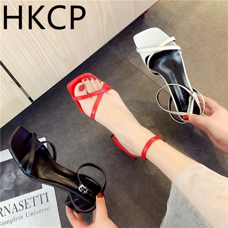 HKCP Fashion Strappy sandals for the new 2019 summer look go with simple chunky heels and a Roman fairy touch C122