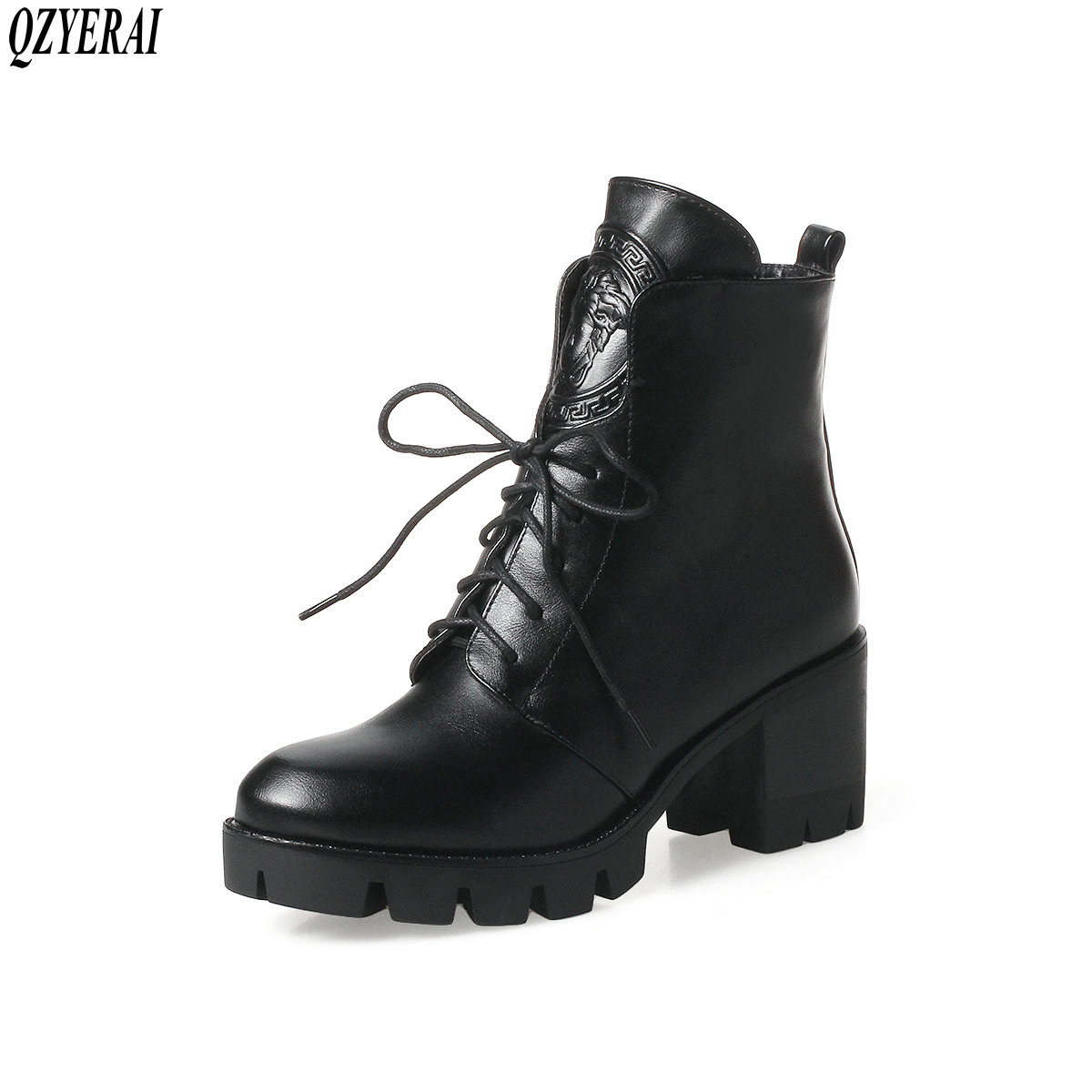 QZYERAI New genuine woman boots chunky and belted cowhide women boots retro shoes woman free shipping