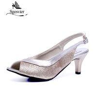 Plus Size 30 46 New 2016 Summer Fashion Women Sandal Casual Medium Heels Flip Flops Women