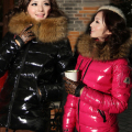 Free Shipping- Winter Outerwear Large Fur Collar Slim Short Design Down Coat Women
