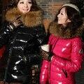 Frete Grátis-Inverno Outerwear Grande Gola De Pele Fina Projeto Curto Para Baixo Casaco Mulheres