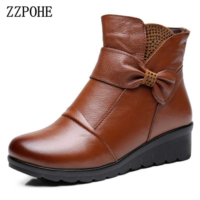 ZZPOHE 2017 החורף חדש לנשים נעליים שטוחות עור אמיתי אישה מגפי קרסול מגפי שלג חם גודל פלוס קשישי כותנה אמא נעלי