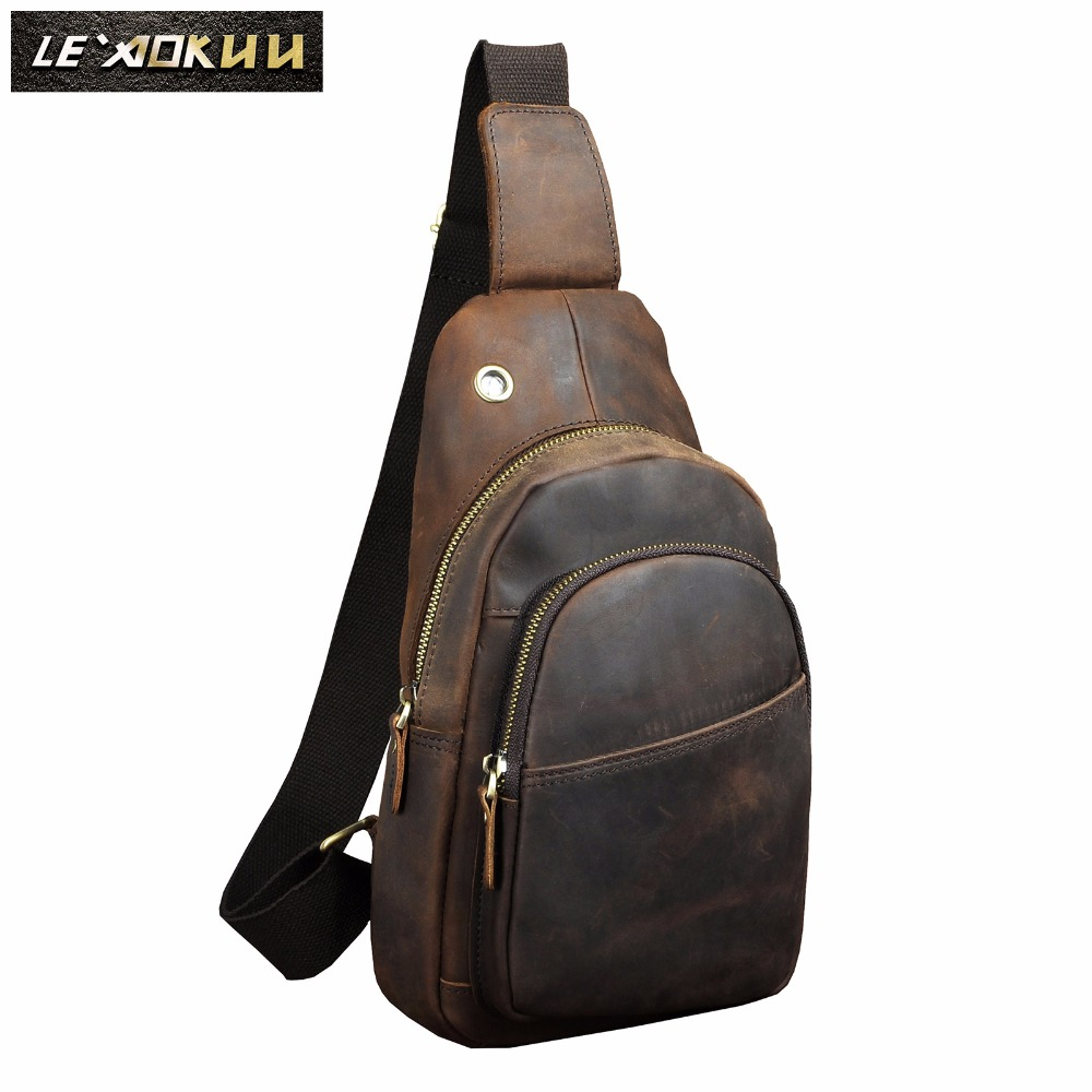 Men Quality Leather Casual Fashion Travel Chest Pack Sling Bag Design One Shoulder Cross Body Bag Daypack 8