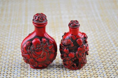 2PSC Master Chinese sculpture imitation red coral resin snuff bottles