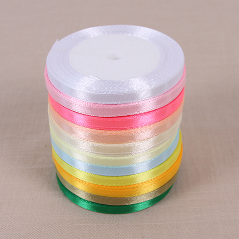 Hot sale colors 6mm 25 yards cheap satin ribbon for arts for Sewing material for sale