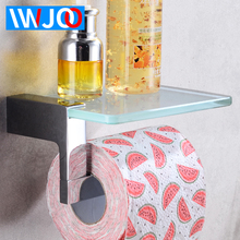 Toilet Paper Holder Brass Glass Creative Bathroom Roll with Phone Shelf Tissue Towel Rack Wall Mounted