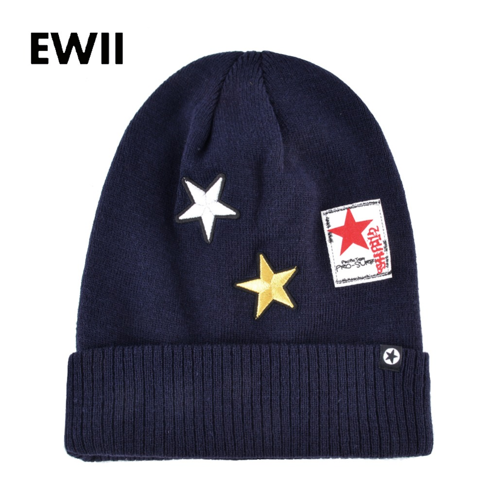 Women star beanie hip-hop cap men winter warm hat ladies knitted hats for men skullies beanies for women wool cap bonnet bone  new fashion winter cap for women knitted cap wool pure color hat men casual hip hop hats beanie warm hat warm hat plus size lb