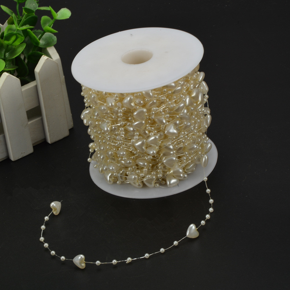 15M Heart Style Pearls Beads Chain Garland Flowers Wedding Party Decoration Bead Chain DIY Crafts Garland Birthday Accessories