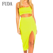 FUDA Sexy Two Piece Sets One-shoulder Top and High Split Dress Women Summer Sleeveless Hollow Out Open Back Female Dresses plus open shoulder split back pinstripe shirt