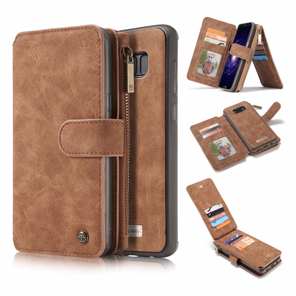 For Samsung S8/ S8 plus wallet case 2 in 1 Leather Flip purse with card slots photo frame magnetic back protective cover