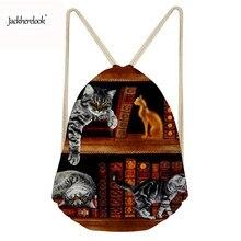 Jackherelook Backpack Drawstring Cute 3D Book Shelf Sleepy Cat Printing Drawstring Bag Travel Women Casual Bag Mochila Feminina