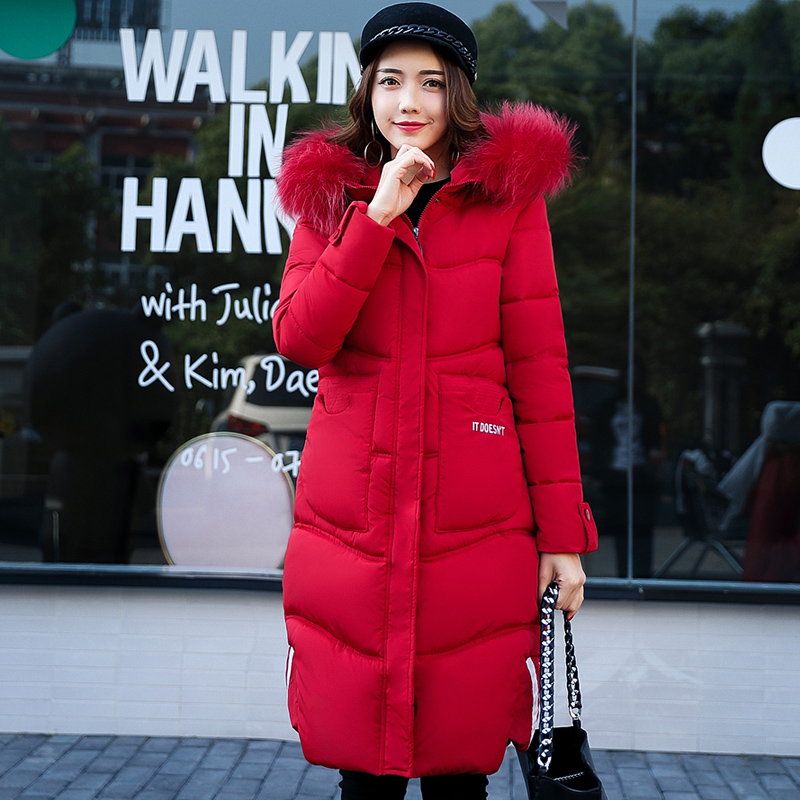 Long Women Winter Jacket Women Fashion Padded Coat Hooded Fur Collar Overcoat Warm Parka Wadded Casaco Feminino Female Jacket composite bag brand women handbag fashion women genuine leather handbags new women bag ladies women messenger bags bolsos mujer