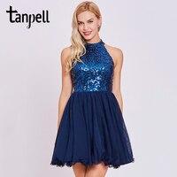 Tanpell Sequins Homecoming Dress Dark Royal Blue Halter Sleeveless Knee Length A Line Dress Women Backless