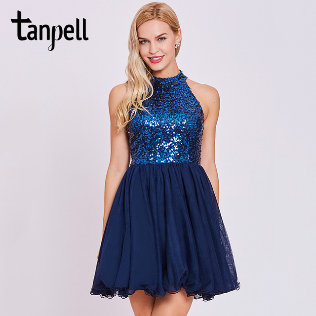 f6883c50d27 Tanpell pailletten homecoming kleid dunkle royal blue halfter ärmellose  knielangen a-linie kleid frauen backless