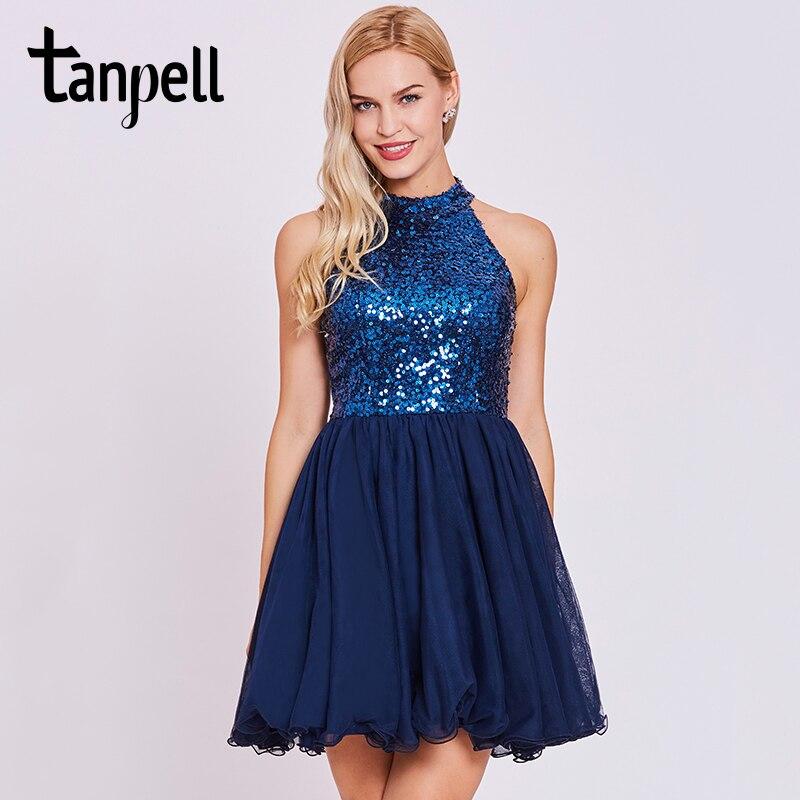 Tanpell sequins homecoming dress dark royal blue halter sleeveless knee length a line dress women backless short homecoming gown