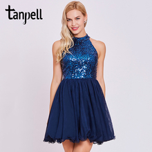 Tanpell sequins homecoming dress dark royal blue halter sleeveless knee length a line women backless short gown