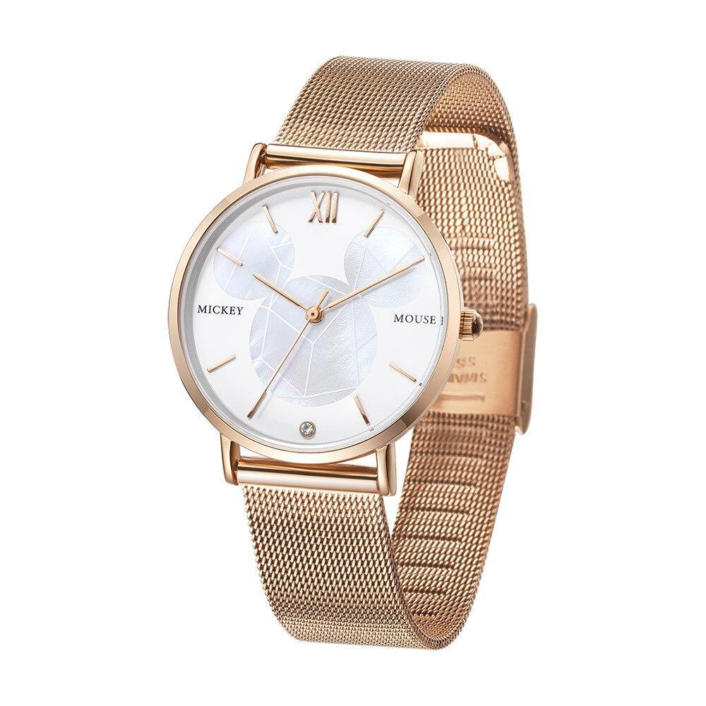 Disney marque femmes montres Mickey mouse quartz montres pour femmes étanche acier inoxydable horloge pour femme or noir argent