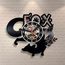 Free Shipping 1Piece 12 Inch Cut-Out Digital Wall Clock LP Vinyl Records Creative Fox Clock Home Decor Animal 3D Art Time Clock