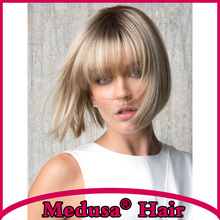 Medusa hair products: Classic bob style Synthetic wigs for women Medium length straight Mix color Mono wig with bangs SW0034B