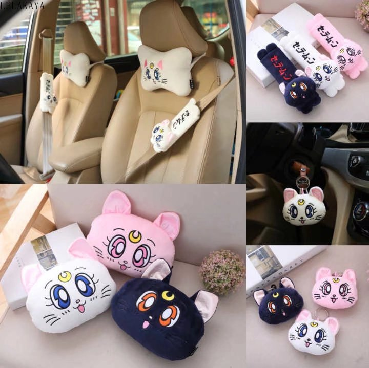 Cartoon Anime Sailor Moon Plush Keychain Soft Stuffed Luna Cat Car Pillow Seat Belt Cover Bone Shape Car Decorative Neck Pillows